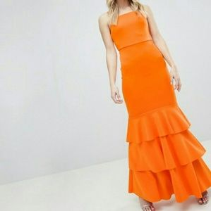 NWT ASOS Orange Tiered Ruffle Dress US Size 4